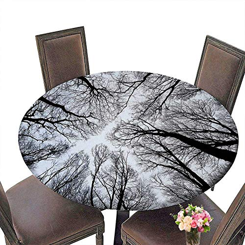 PINAFORE Round Fitted Tablecloth Abstract Tree Branch Silhouette Halloween Concept for All Occasions 35.5