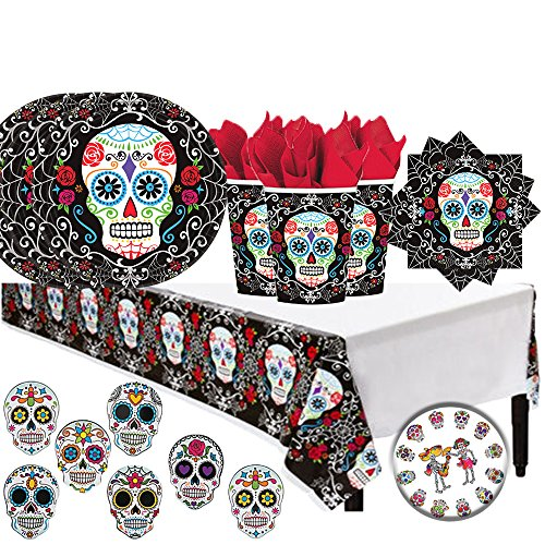 Dia De Los Muertos Day Of The Dead Halloween Party Pack for 18 with Plates, Napkins, Cups, a Tablecover, Coasters, and an EXCLUSIVE Pin! -