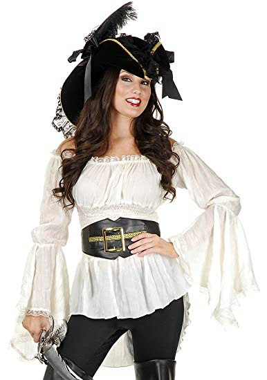Amazon Com Charades Women S Pirate Lady Vixen Costume Blouse Clothing