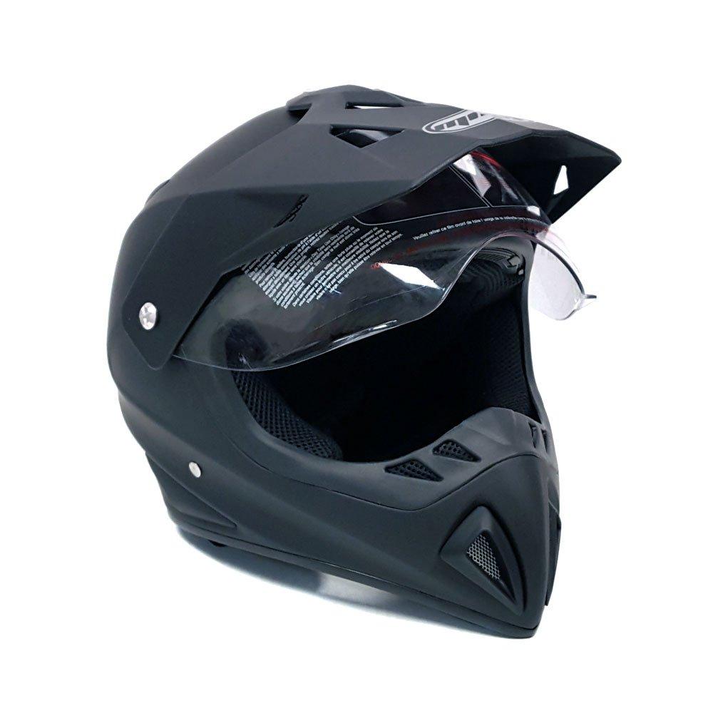 Helmet Dual Sport Off Road Motorcycle Dirt Bike ATV - FlipUp Visor - 27V (L, Matte Black) by MMG (Image #1)