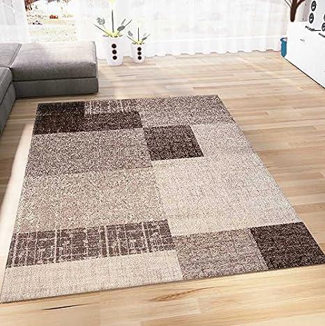 Wohnzimmer Teppich Kurzflor in Beige Braun Designer Teppiche Modern Kachel  Optik Kariert Pflegeleicht 160x230 cm