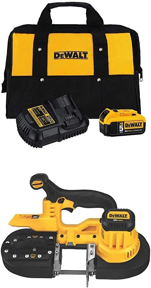 DEWALT DCS371B 20V MAX Lithium-Ion Band Saw Bare Tool with 5.0 Ah starter kit