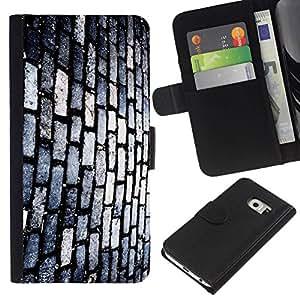 // PHONE CASE GIFT // Moda Estuche Funda de Cuero Billetera Tarjeta de crédito dinero bolsa Cubierta de proteccion Caso Samsung Galaxy S6 EDGE / Brick Street /