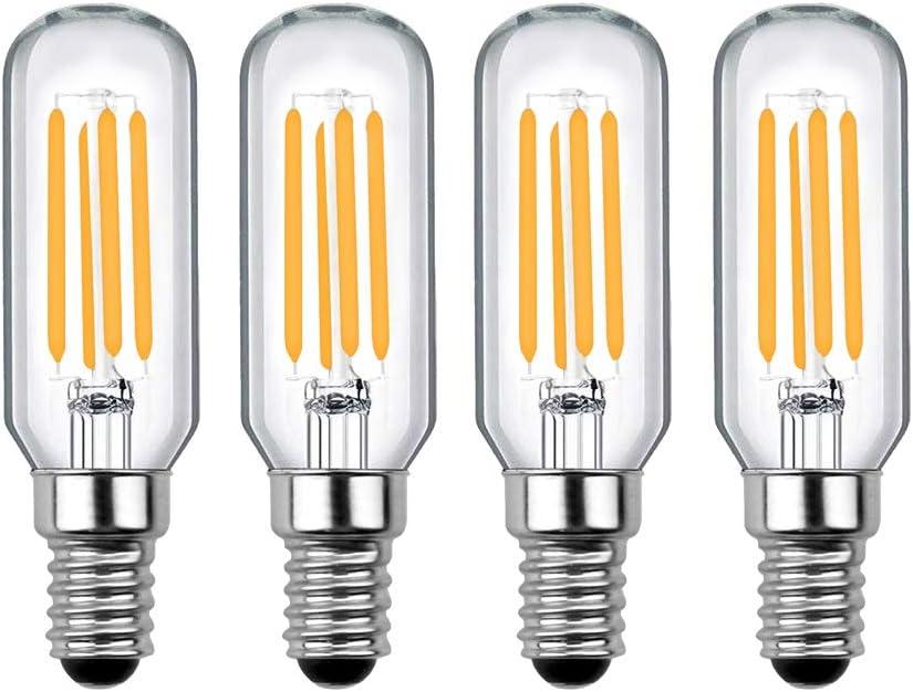 Luxvista E14 LED Vintage Edison Tubular Bombilla de Filamento, T25 4W Equivalente a 40W con 400 LM, Luz Cálida 2700K para Campana Extractora (4-Unidades, No Regulable)