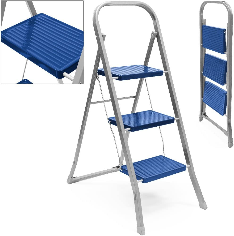 Trittleiter 3 Stufen zweiseitige Holzleiter Stehleiter Malerleiter Multifunktion