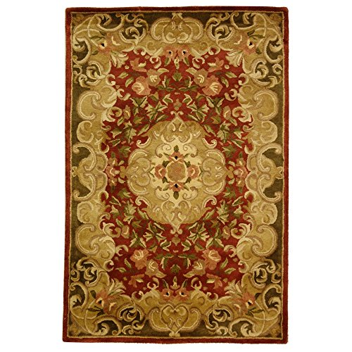 (Safavieh Classic Collection CL234A Handmade Traditional Oriental Rust and Green Wool Area Rug (4' x 6'))