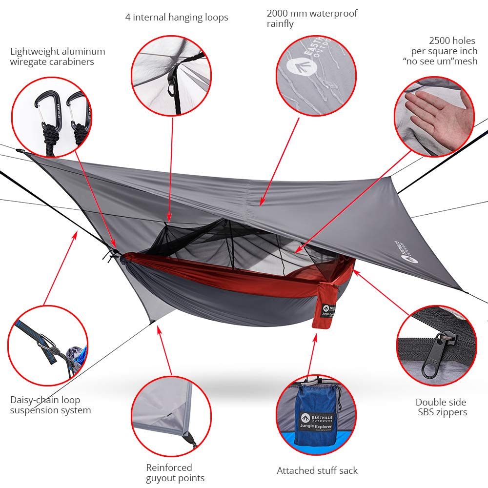 Easthills Outdoors 118 x 79 Portable Double Camping Hammock with Removable Mosquito Bug Net