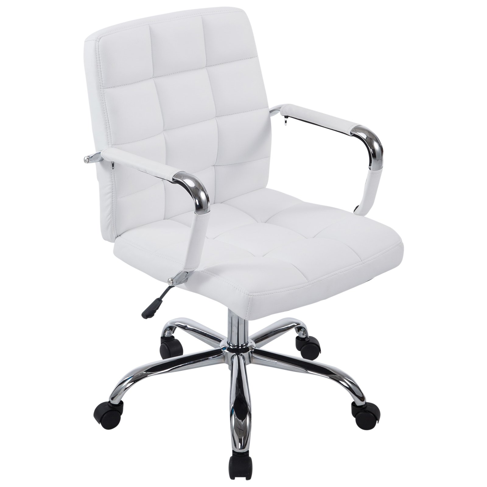 Poly and Bark Manchester Office Chair in Vegan Leather, White by POLY & BARK