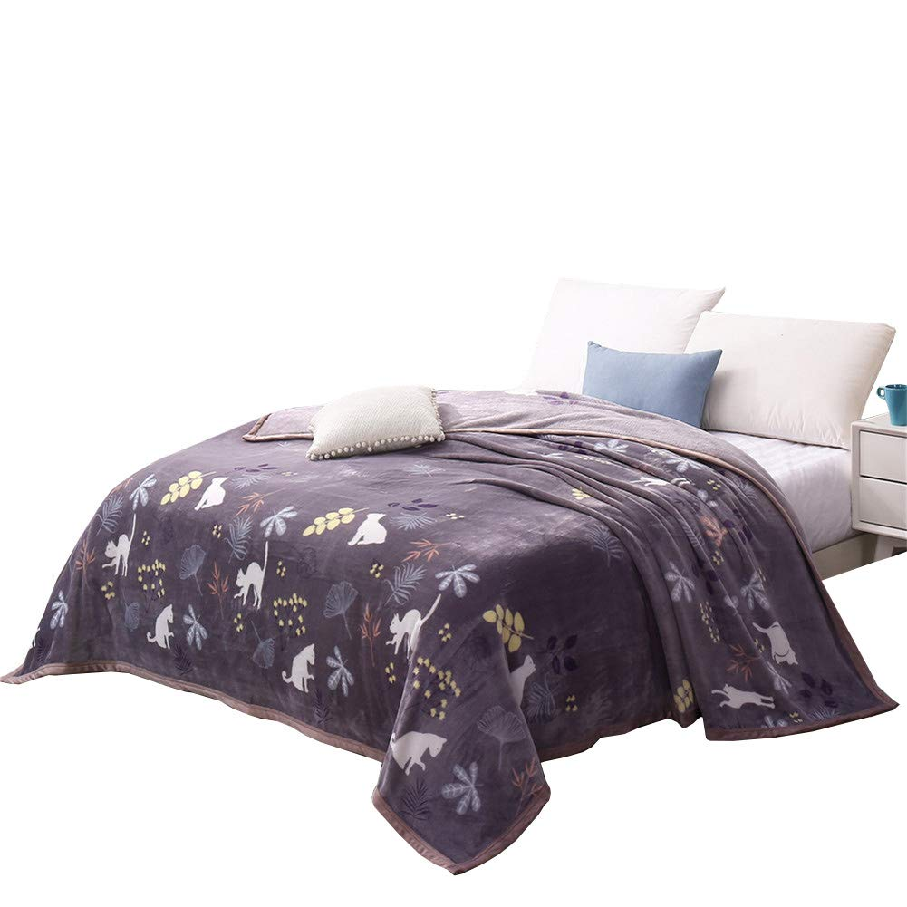 Cozzy Cartoon Printed Microfiber Plush Fleece Bed Blanket Queen Size 79''x90'' (Naughty White Cats with Flowers and Leaves Print on Purple Background)