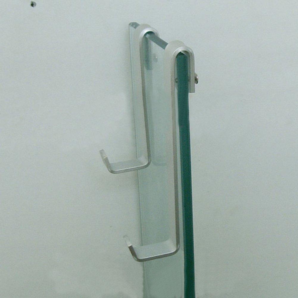 Welldoit Pack of 2 Space Aluminum Hook Towel Hanger Hanging Hook for Bathroom Shower Glass Doors (Length 14cm/5.51'',hook inner diameter 11mm/0.43'') by Welldoit (Image #2)
