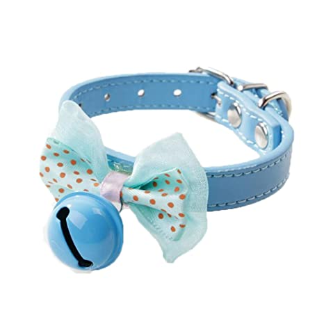 Newtensina Collar de perro con campanas Puntos Corbata de moño ...