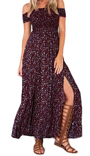 HaiDean Maxi Vestido Mujer Moda Chic Floreadas Vestido Boho Manga Corta Sin Tirantes Cintura Modernas Casual Alta Abiertas Vintage Hippie Vestido Playa ...