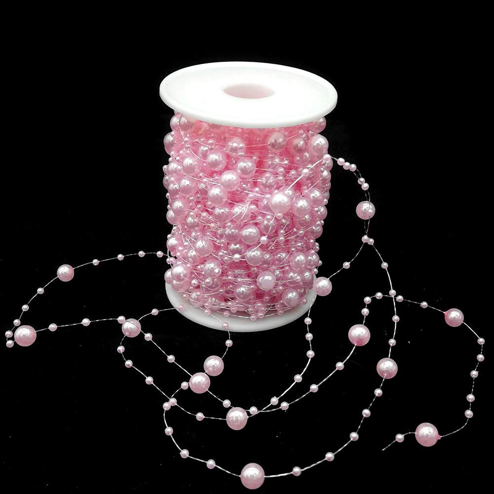 Pearl Garland Roll Beaded Chain Acrylic Crystal Beads String Trim for Wedding Party Decoration Flower DIY Crafts Light Pink 16 Feet BIT.FLY 6M