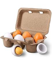 StillCool 6pcs Juguete de Huevos de Pascua de Madera en cartón para Juego de Cocina y