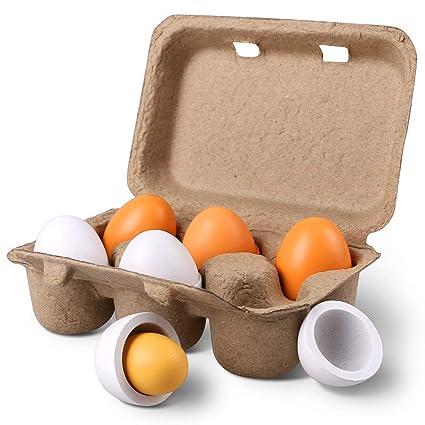 Superbe StillCool 6pcs Wooden Easter Eggs Yolk Pretend Children Play Kitchen Game  Food Kids Toy