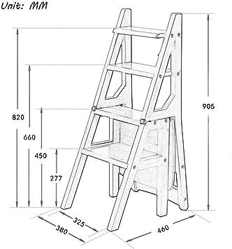 BBG Taburete, taburete plegable simple, escalera de madera de 4 ...