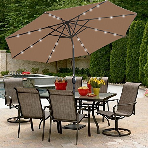 SUPER DEAL 10 ft Patio Umbrella LED Solar Power, with Tilt Adjustment and Crank Lift System, Perfect for Patio, Garden, Backyard, Deck, Poolside, and More (Solar LED - Tan)