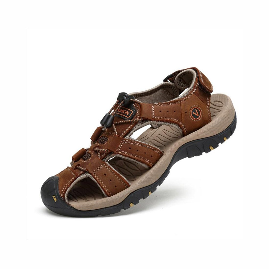 best loved c8834 cd9df Summer Men s Leather Beach Sandals Outdoor Outdoor Outdoor Sports  Walking Trekking Sandals Closed-Toe Velcro Breathable Trekking Sandals Shoes  (Color   2, ...