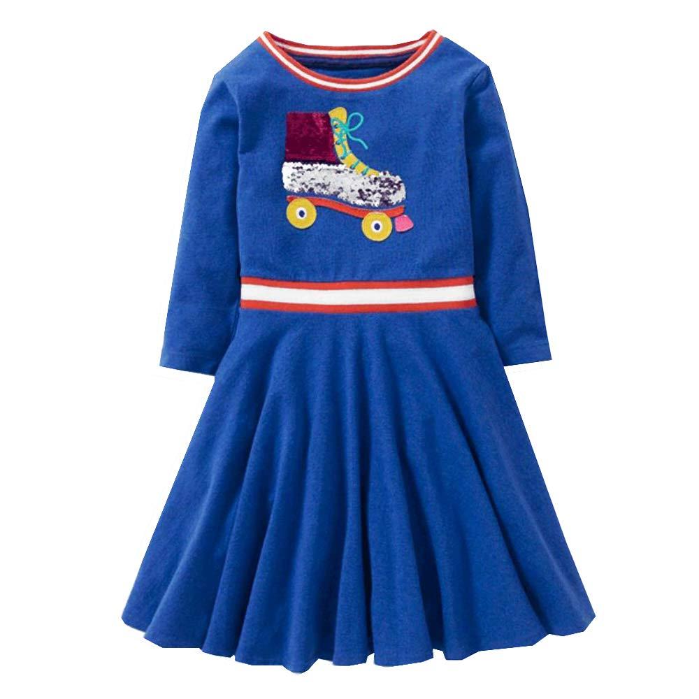 VIKITA Toddler Girls Roller Shoes Silver & Pink flip Sequin Long Sleeve Dresses Great Gift (5T, SMKLP001 Blue)