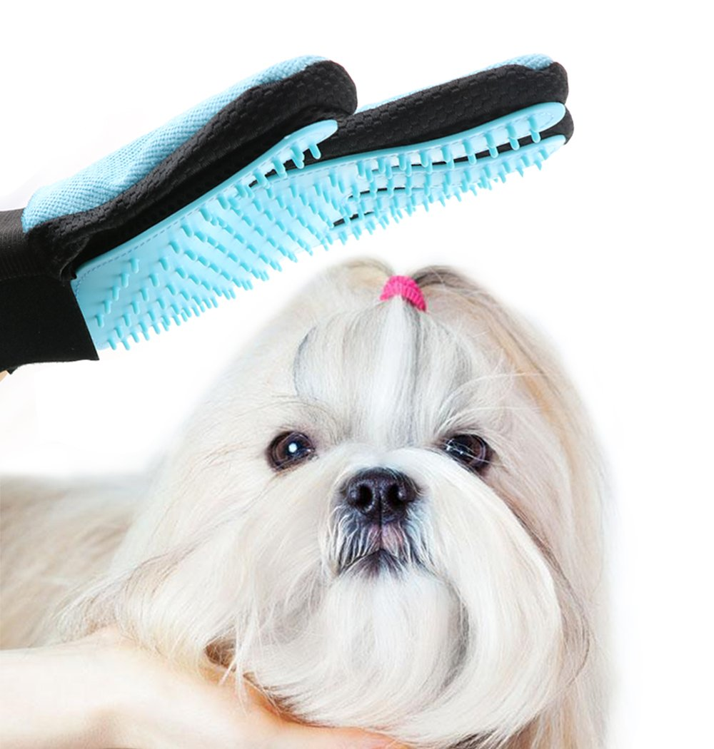 CEESC Pet Shedding Grooming Brush Glove, Hair Remover and Massage Tool for Pets (Red) (Light Blue)