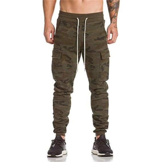 Pantalones Hombre,❤LMMVP❤Hombres elástico puños casuales cordón entrenamiento jogging pantalones deportivos…