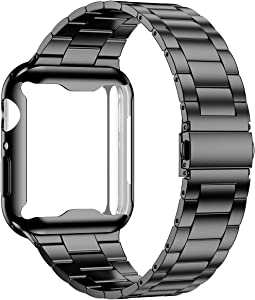 Wolait Compatible with Apple Watch Band 42mm 44mm 38mm 40mm with Case, Upgraded Business Stainless Steel Band with Screen Protector Cover for iWatch Series 6/SE Series 5/4/3/2/1 -Black, 44mm