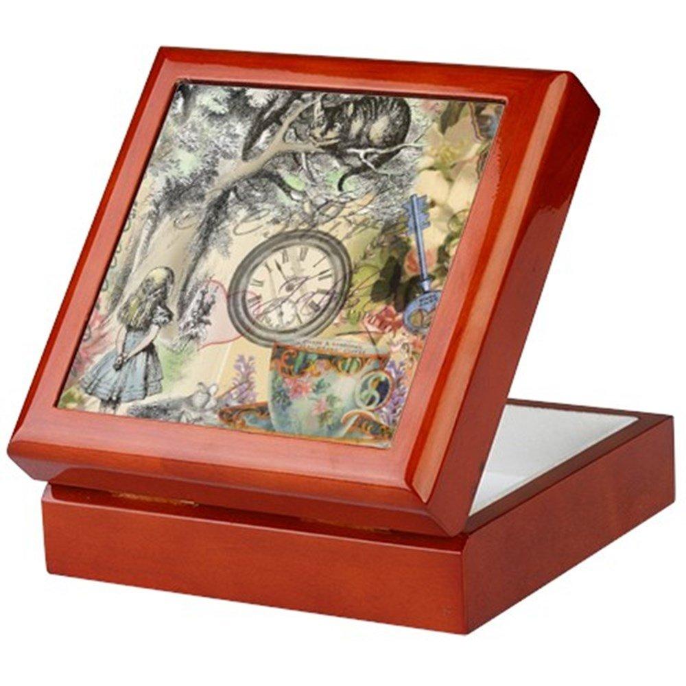 finition en bois dur Bo/îte /à bijoux /Chat du Cheshire Alice au pays des merveilles/ CafePress/ /Bo/îte souvenir EN velours doubl/é Memento Box