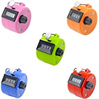 Ulable Pack of 5 Color Hand Held Tally Counter 4 Digit Mechanical Palm Clicker Counter - Assorted Color Handheld Tally Counter for Lap/Sport/Coach/School/Event