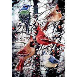 "Morigins Winter Cardinals Decorative Double Sided Snow Christmas Garden Flag 12.5""x18"""