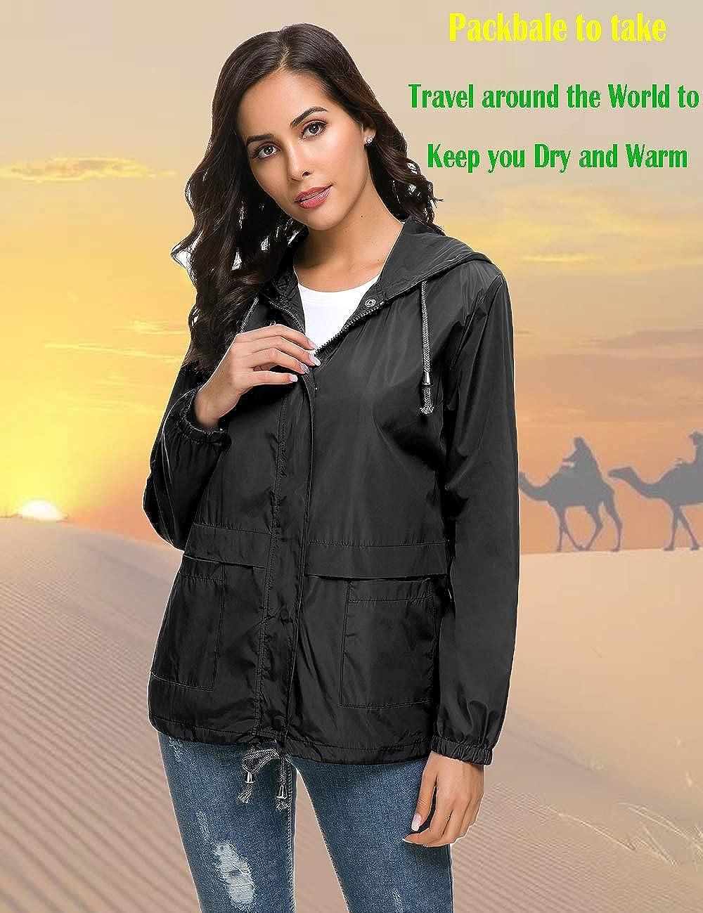 Raincoat Women Waterproof Outdoor Active Stripe Lining Hooded Rain Trench Jacket