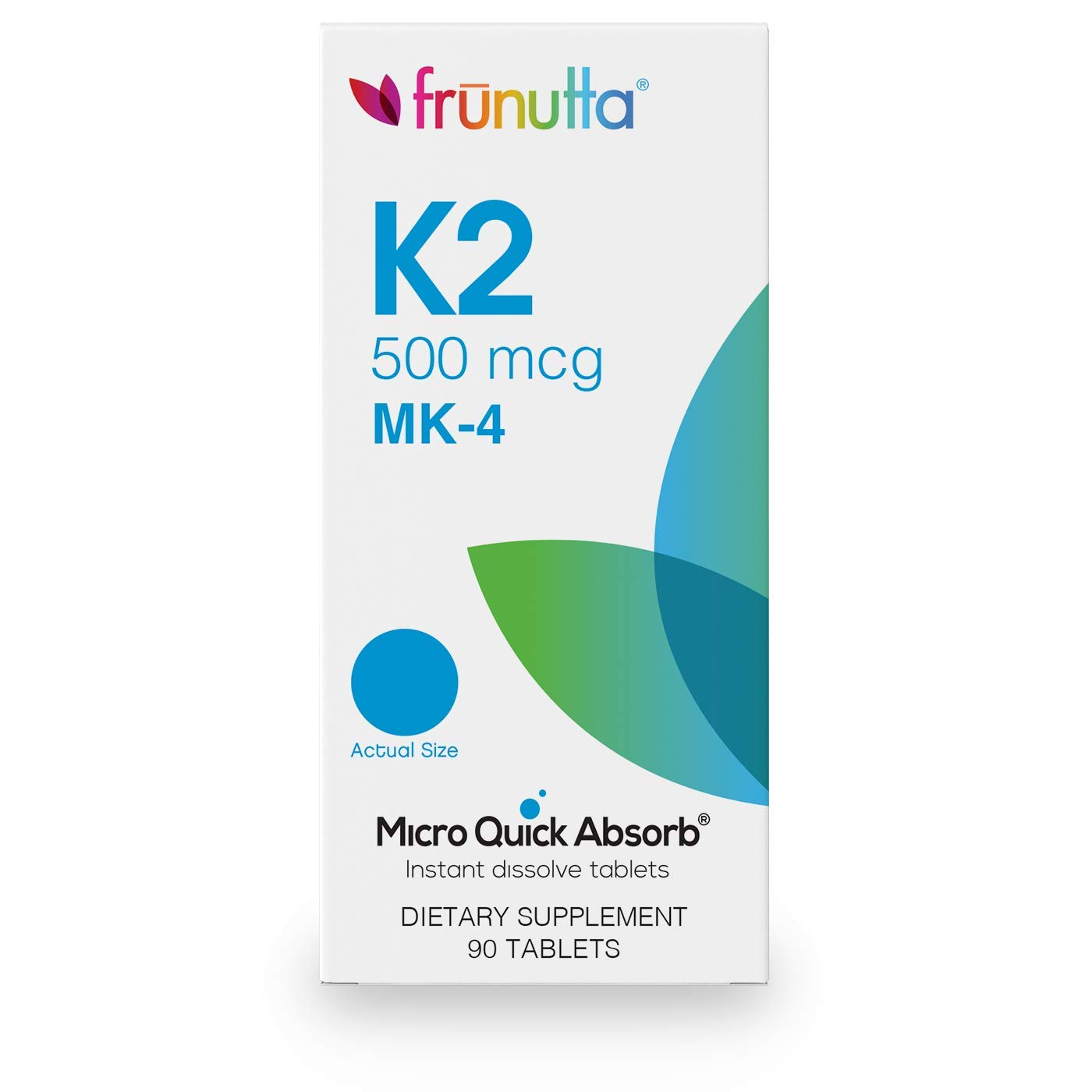 Frunutta Vitamin K2 Tablets 500 mcg MK-4, Under The Tongue Instant Dissolve Tablets, 3 Month Supply, Proudly Made in USA