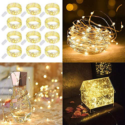 12 Pack Warm White LED Starry String Lights Battery Powered Fairy String Lights 3.3ft 10LEDs Decorations for Bedroom Patio Garden Birthday Party Wedding Christmas Halloween DIY Home Decor]()