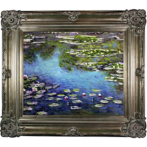 overstockArt MON1239-FR-801S20X24 Water Lilies by Claude Monet Framed Hand Painted Oil On Canvas with Renaissance Champagne Frame (Renaissance Champagne Frame)