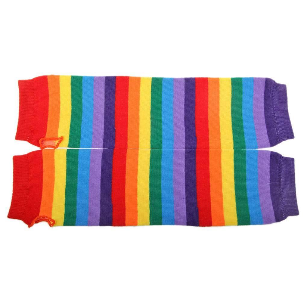 Kongnijiwa Femmes Fille Automne-Hiver Arc-en-Rayures color/ées Gants Longs Bras Chaud Tricot Mitaines Mitaines