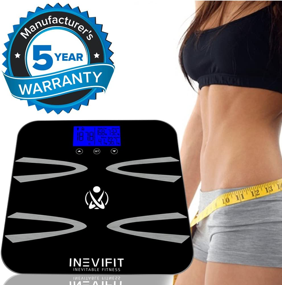 INEVIFIT Body-Analyzer Scale, Highly Accurate Digital Bathroom Body Composition Analyzer, Measures Weight, Body Fat, Water, Muscle, BMI, Visceral Levels & Bone Mass for 10 Users. 5-Year Warranty: Health & Personal Care