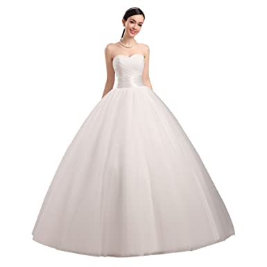 Kevins Bridal Women\'s Strapless Sweetheart White/Ivory Ruched ...