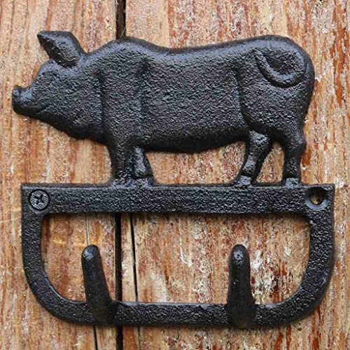 (LXY European and American Retro Wrought Iron Pig Double Hook Wall Hanging Hook)