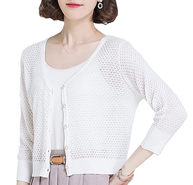 NianEr Summer V Neck Short Cardigans for Women Button Up Knit 3 4 Sleeve  Cardigan Sweaters 821 at Amazon Women\u0027s Clothing store