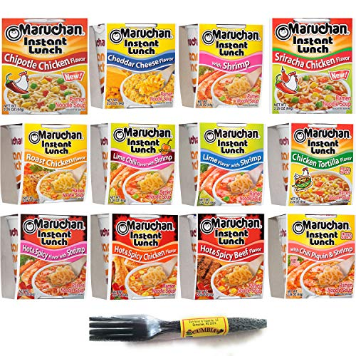 Maruchan Instant Lunch Variety 12 Soup Flavors (12 Pack): Cheddar Cheese, Chicken Tortilla, Chipotle Chicken, Roast Chicken, Hot and Spicy Beef/Chicken/Shrimp and More. Bundled w/Cumbia Forks