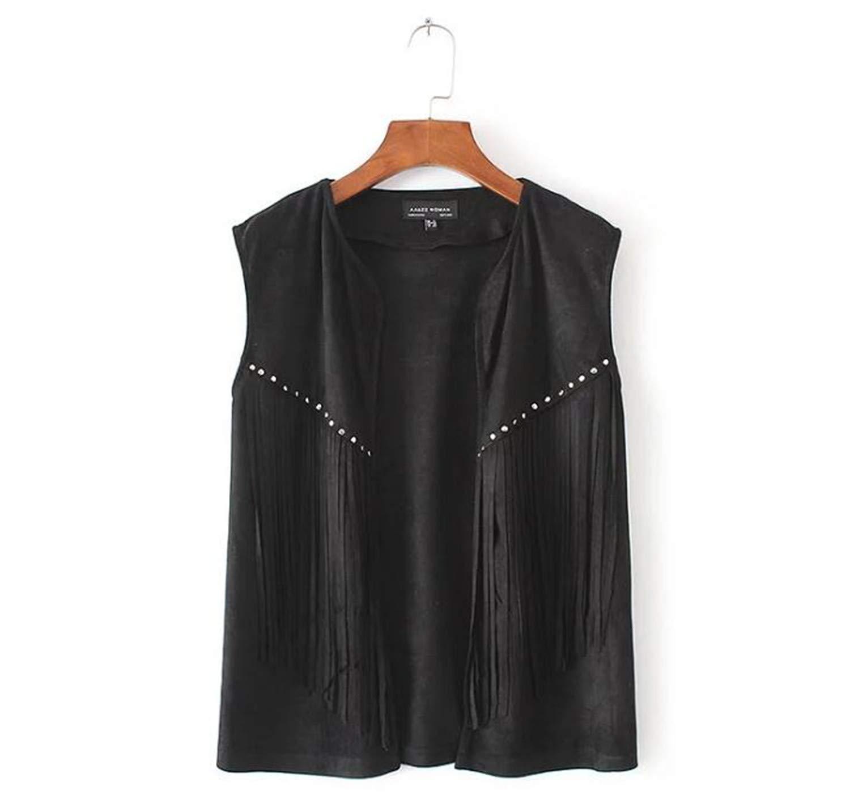Women Brown Black Color Fringe Tassel Vest 80's Boho Hippie Street Style Suede Vests