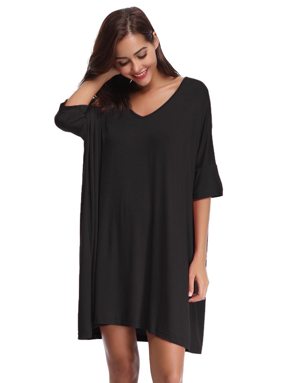 Aibrou Women's Nightdress Loungewear Soft Home T-Shirt Dress V-Neck Dress Plus Size Loose Nightshirt Nightwear AM000044