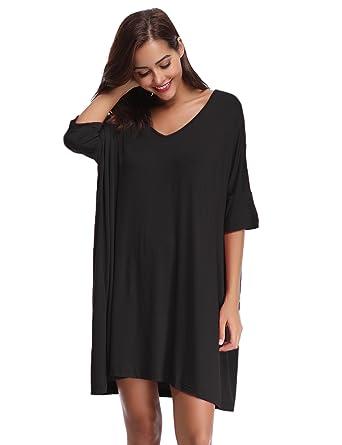 73cdc76658 Aibrou Women s Nightdress Loungewear Soft Home T-Shirt Dress V-Neck Dress  Plus Size Loose Nightshirt Nightwear  Amazon.co.uk  Clothing