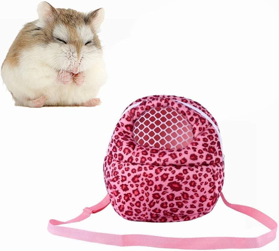 Yosoo Three Size Small Pets Carrier Bag Hedgehog Hamster Mouse Outgoing Bags Leopard Portable Travel Backpack with Strap, Pink-M