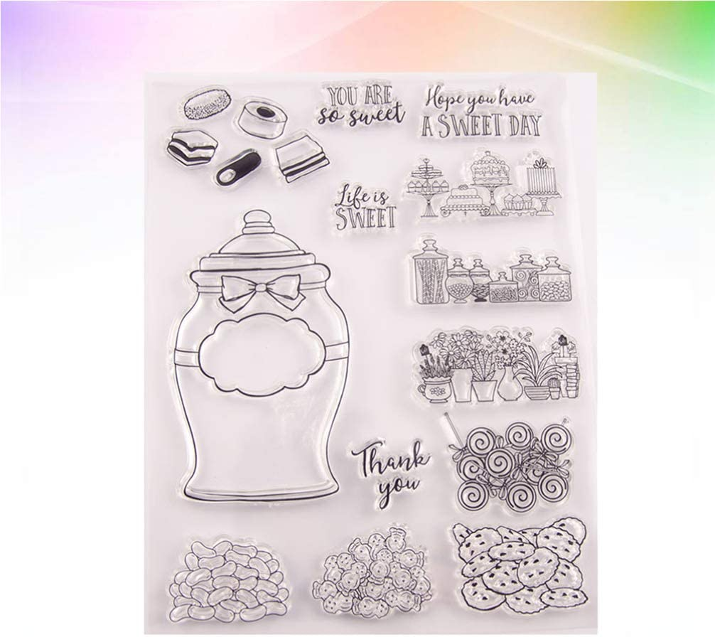 SUPVOX 1 Set Clear Stamp and Cutting Dies Sweet Candy for DIY Craft Card Making Photo Album Scrapbooking