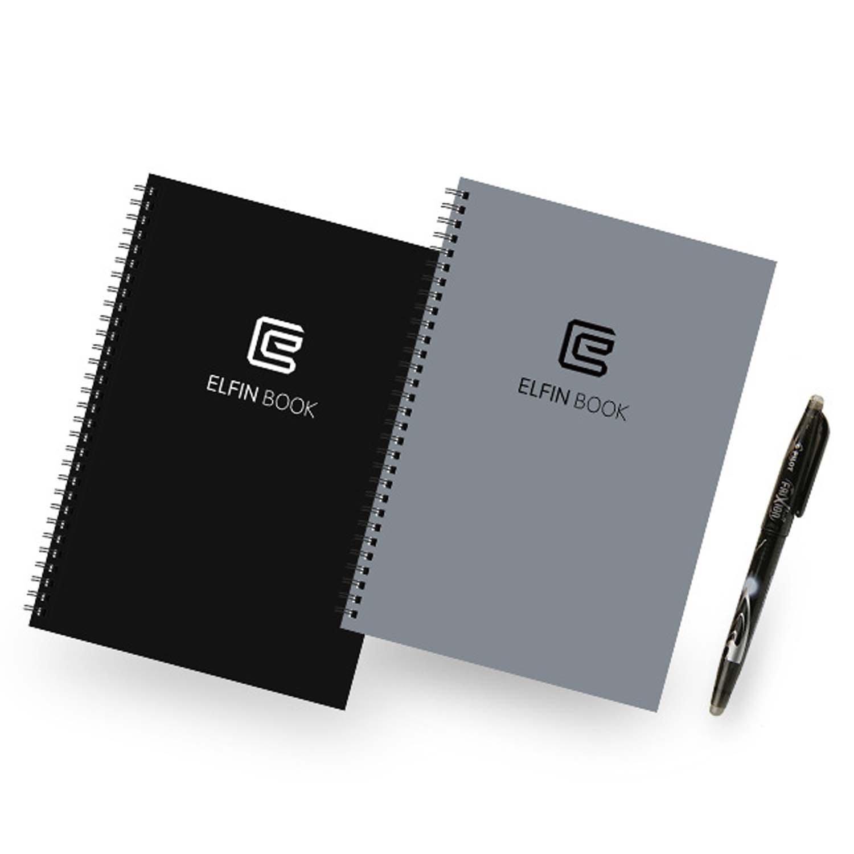 Elfin ordinateur portable intelligent, réutilisable / imperméable à l'eau / stockage de nuage pour écrire à la main / notes / dessin / croquis - gris
