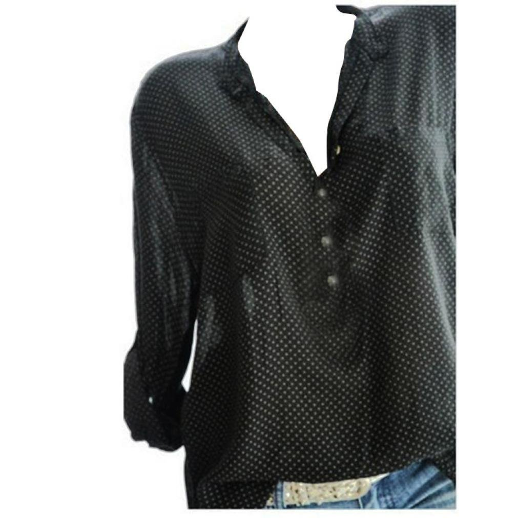 iQKA Women Plus Size Dots Henley Shirt V-Neck Roll-up Long Sleeve Top Loose Blouse(Black,Small)