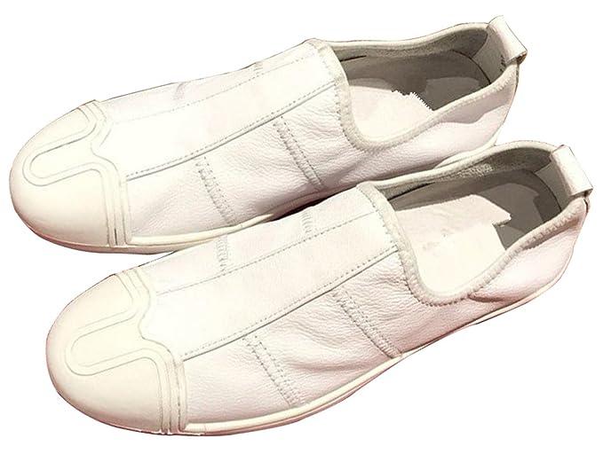 Alta Calidad Mocasines De Hombres Zapatos De Cuero Blancos Zapatos Casuales Zapatos De Moda Zapatos Perezosos Versión Mejorada,White-44EU: Amazon.es: Ropa y ...