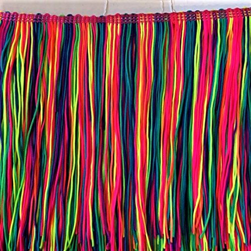 5'' Inch Long Fringe Neon Rainbow Chainette Fringe Price Per Yard