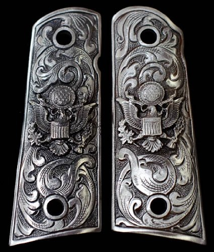 UPC 813606013585, Pewter 1911 Gun Grips American Eagle Floral Scroll Engraved Design