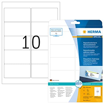 1000 Adressaufkleber Herma 10316 Adressetiketten abl/ösbar bedruckbar wei/ß wieder haftend selbstklebend 100 Blatt DIN A4 Papier matt 99,1 x 57 mm